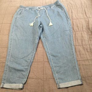 Nwt Loft Light Weight Tie Joggers Jeans 33 16